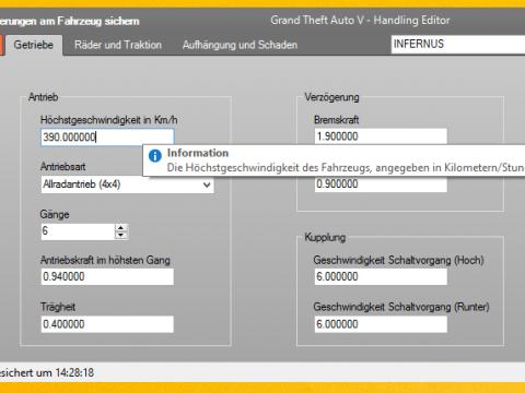 Grand Theft Auto V Handling Editor v3