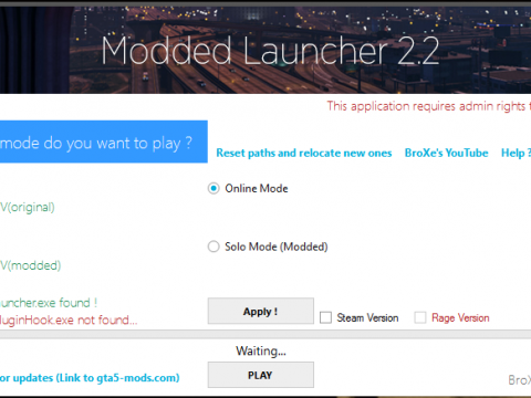 Modded Launcher (Works with RPF mods) 2.2