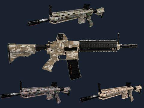 PUBGmobile M416 style + multicams camopack for HK416 Carbine Rifle