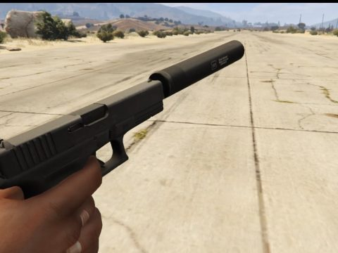 Glock 17 with and without silencer