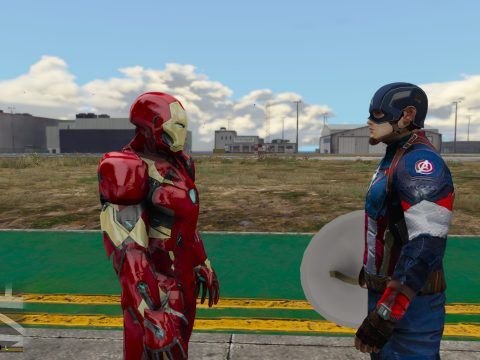 Captain America: Civil War Iron Man Mk.46 Armor + Captain America Ported Head 1.2