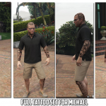 HD Tattoos (face/sleeve/back/feet) for Trevor Franklin & Michael 1.8