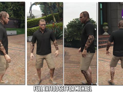 HD Tattoos (face/sleeve/back/feet) for Trevor Franklin & Michael 1.8