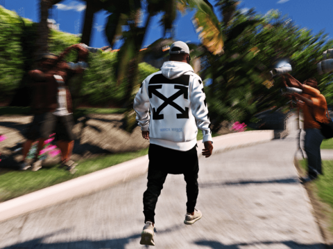 OFF-WHITE Black/White Diagonal Caravaggio Hoodie 2.0