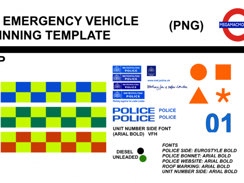 UK Emergency Vehicle Skinning Template WIP