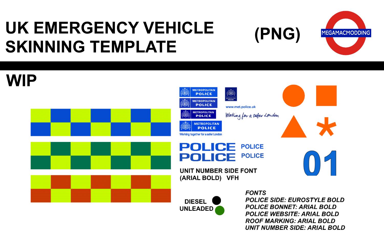 UK Emergency Vehicle Skinning Template WIP