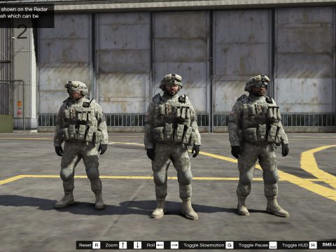 US army outfits for Franklin, Trevor and Michael 1.0