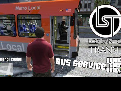 Los Santos Bus Service (as client), bus transport service in Los Santos, player as passenger [OpenIV] 2.0 beta