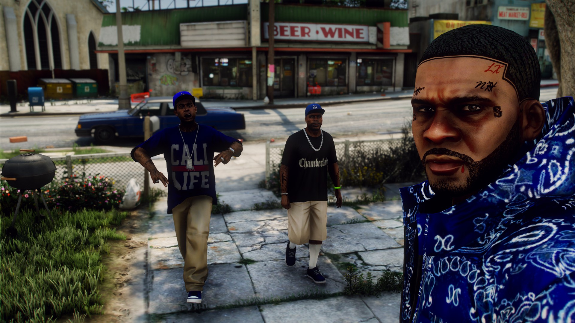 LA Nayba-Hood (NH) Crip face tatted, beard, regular line-up, double, and triple line-ups for Franklin 1.4