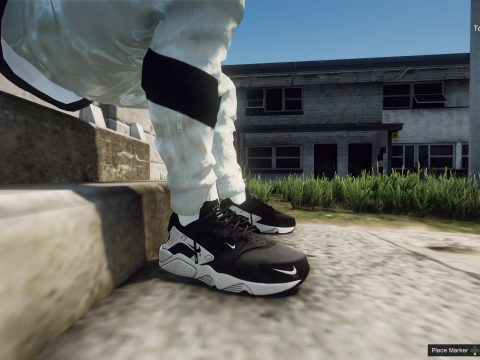 Nike Air Huarache Black and White x Royal Blue Run Premium