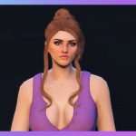 Bun with two loose strands hairstyle for MP Female 1.0