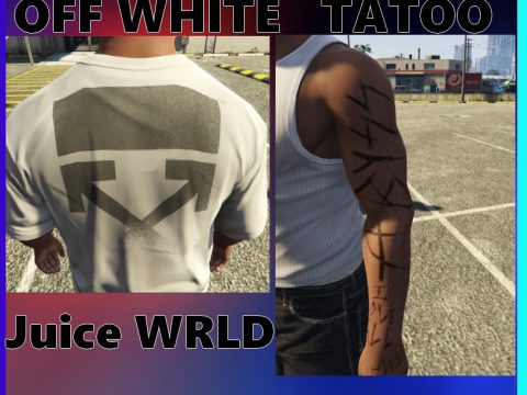 """Off white shirt and """"juice wrld's tatoo' for Franklin 0.1"""